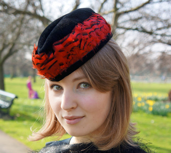Military style black and red forage-cap