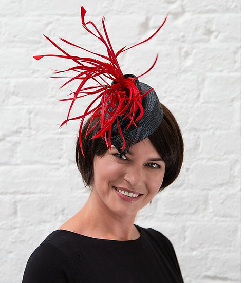 Red and grey fascinator