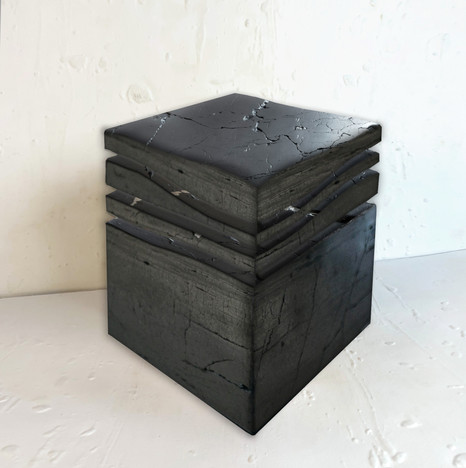 """The mini wave A"" 2020, Semi polished hard coal, 17 X 14 X 14 in, 42 X 35 X 35 cm."