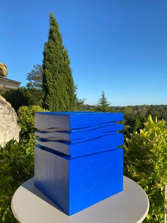 """Mini-Wave _ Blue Klein"" Stool, 2020, London, Lacquered cork, 42 X 35 X 35 cm, 16.1/2 X 13.3/4 X 13.3/4 in."