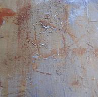 """""""Detail 01"""" (Sample table) carborundom, liquid Corten steel, oil paint on aluminium, 24 X 20 in, 60 X 50 cm."""