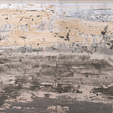 """Plate 22"" 2009, Arpaillargues, Carborundom, sand on aliminium, 41 X 61 in, 103 X 155 cm."