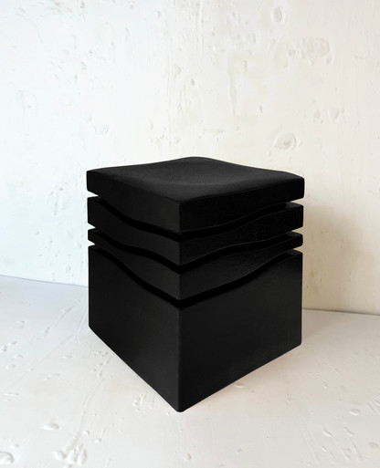 """Mini-Wave Charcoal "" Stool, 2020, London, Lacquered Cork, 42 X 35 X 35 cm, 16.1/2 X 13.3/4 X 13.3/4 in."