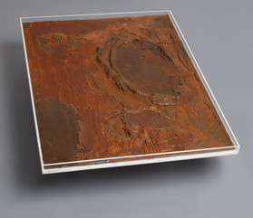 """"""" Coffee Table 01 The Wave"""" London, 2016, Carborundum, Corten steel on wood, Led light in Perspex box and glass, 48 X 36 X 10 in, 120 X 90 X 25 cm."""