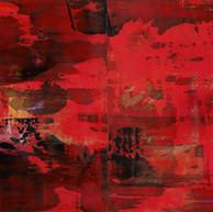 """""""Thème, variations et résonances Rouge"""" London, 2017, oil paint on wood, Diptych, 96 X 32 in, 240 X 80 cm."""