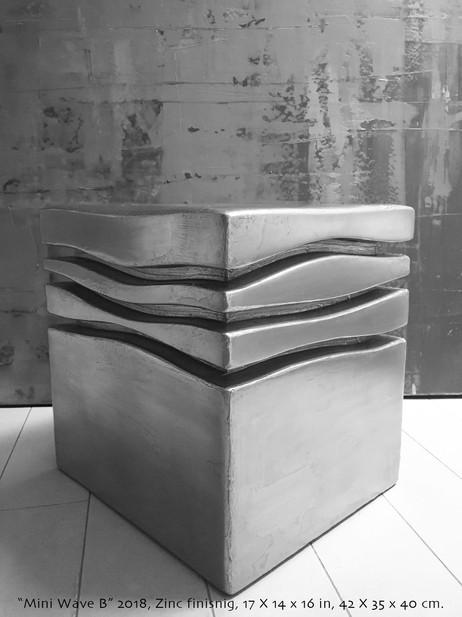 """The mini wave B"" 2018, Zinc finishing on wood, 17 X 14 X 16 in, 42 X 35 X 40 cm."