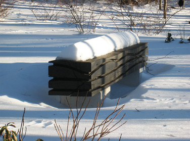 """The Wave Snow 01, Somewhere in the snow !!!"" 2010, Canadian red Oak, concret base, 106 X 19.5 X 15.5 inch, 270 X 50 X 40 cm."