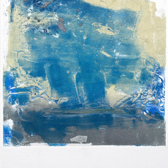 """""""Off the Water"""" Arpaillargues, 20121, monotype on hand made paper, 1200 gm, 30 X 32 in, 75 X 56 cm, Editions Berville"""