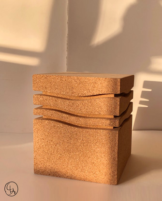 """""""Mini-Wave Blondie"""" Side table, 2020, London, Natural Cork, 40 X 33 X 33 cm, 15.3/4 X 13 X 13 in."""