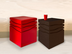 """""""Mini-Wave"""" 2020, London, Ferrari stool, lacquered cork, 42 X 35 X 35 cm, 16.1/2 X 13.3/4 X 13.3/4 in, Chocolate side table, stained cork  40 X 33 X 33 cm, 15.3/4 X 13 X 13 in."""