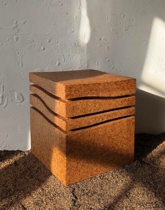 """Mini-Wave Blondie"" Stool, high density natural cork, 2020, London, Natural Cork,  42 X 35 X 35 cm, 16.1/2 X 13.3/4 X 13.3/4 in."