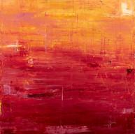 """"""" Impromptu d'été, Soleil Couchant """" Suzon, 2014, oil paint on wood  44 X 40 in, 110 X 100 cm."""