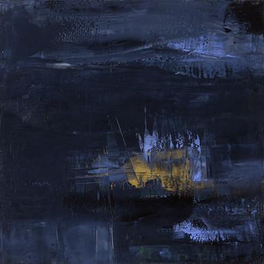 """""""Pleine lune 01, cathédrale"""" London, 2015, oil paint on wood, 20 X 20 in, 50 X 50 cm."""