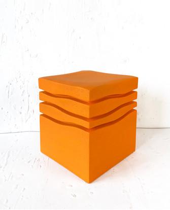 """Mini-Wave _ Orange_Florida "" Stool, 2020, London, Lacquered Cork, 42 X 35 X 35 cm, 16.1/2 X 13.3/4 X 13.3/4 in."