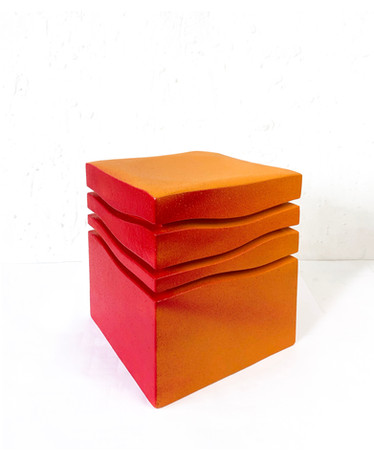 """""""Mini-Wave _ Sunset """" 2020, London, Lacquered Cork, 42 X 35 X 35 cm, 16.1/2 X 13.3/4 X 13.3/4 in."""