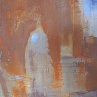 """Detail Sample 03, table top"" 2015, Mallorca, carborundom, liquid Corten steel, oil paint on aluminium, 20 X 24 in, 50 X 60 cm."