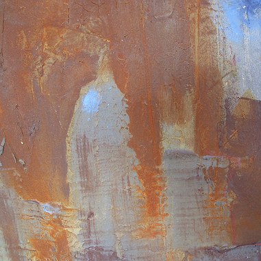 """Detail Sample 03, table top"" 2015, Mallorca, carborundom, liquid Corten steel, oil paint on aluminium, 20 X 24 in, 50 X 60 cm."