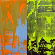 """""""Find'été 01 &2"""" 2018, oil paint on paper, London, 16 X 25 in, 41 X 66 cm."""