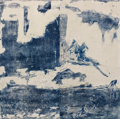 """Japanese water"" Arpaillargues, 2012, monotype on hand made paper, 1200 gm, Edition Berville, 40 X 39 in, 100 X 96 cm"