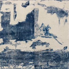 """""""Japanese water"""" Arpaillargues, 2012, monotype on hand made paper, 1200 gm, Edition Berville, 40 X 39 in, 100 X 96 cm"""