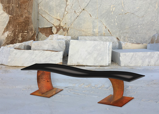 """""""The Mantaray 02"""" (project) Lacquered steel and Corten steel, 100 X 20 X 17 in, 250 X 50 X 42 cm."""