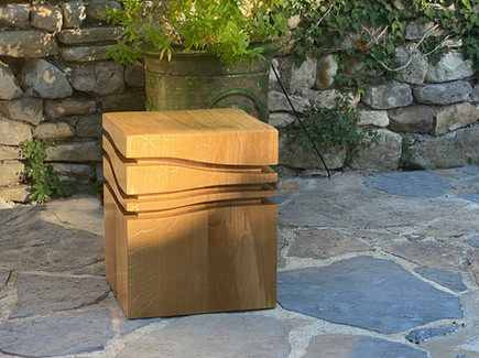 """The mini wave A"" 2020, Solid oak, 17 X 14 X 14 in, 42 X 35 X 35 cm."