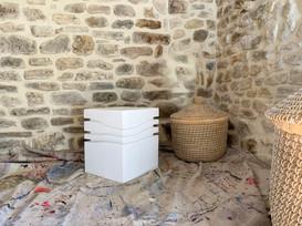 """Mini-Wave _ White ""Courrèges"""" Stool, 2020, London, Lacquered cork, 42 X 35 X 35 cm, 16.1/2 X 13.3/4 X 13.3/4 in."