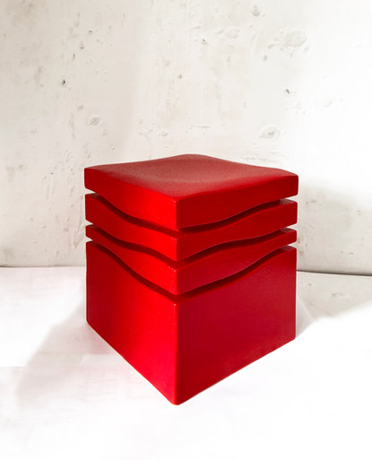 """Mini-Wave Ferrari "" Stool, 2020, London, Lacquered Cork, 42 X 35 X 35 cm, 16.1/2 X 13.3/4 X 13.3/4 in."