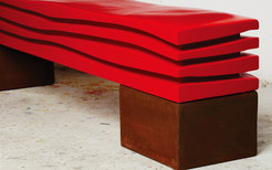 """"""" The Wave Ferrari """" 2015, red lacquer on wood, Corten steel Base. 84 X 18 X 18 in, 210 X 44 X 44 cm."""