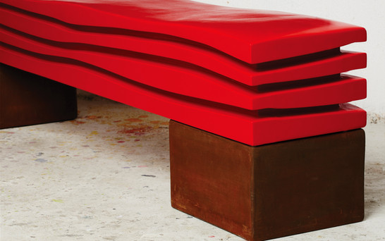 """ The Wave Ferrari "" 2015, red lacquer on wood, Corten steel Base. 84 X 18 X 18 in, 210 X 44 X 44 cm."