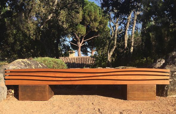 """The Wave 01-02"" 2016, on an island somewhere !!! Ipé wood with Corten steel base, 90 X 16.5 X 13.5 inch, 225 X 42 X 35 cm."