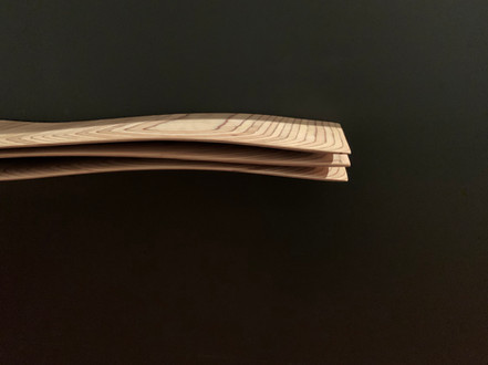 """Mini-Wave Console"" 01/12, 2020 Birch plywood, 125 X 28 X 12 cm, 50 X 11 X 5 in."