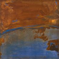 """""""Vue sur la terre"""" 2013, London, mixed media on Corten steel, 18 X 18 in,  45 X 45 cm."""