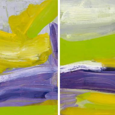 """""""Sur la colline_01_2016"""" & """" Sur la colline 02 _2016 """" Suzon, oil paint on wood, 12 X 12 in X 2,  30 X 30 cm, X 2."""
