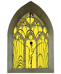 """""""Les lumiéres de Marie"""" Christ, Vitrail central"""