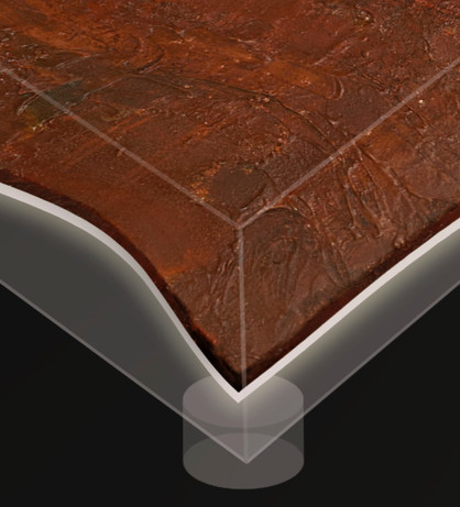 """Detail, """" Coffee Table  02 The Wave"""" 2019, London, Carborundum, Corten steel on wood, Led light in Perspex box and glass. (Prototype, variable size and shape)"""