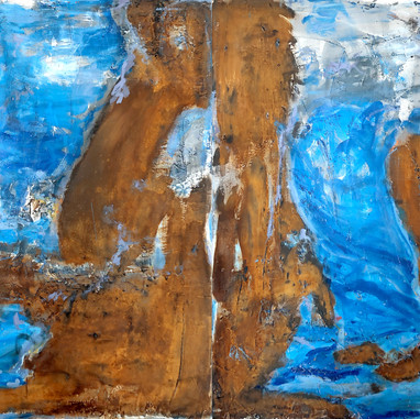 """Cap des Moro, Mallorca"" 2019, mixed media on aluminium, 60 X 100 in, 150 X 250 cm."