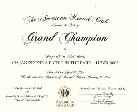 Sage Grand Championship Certificate