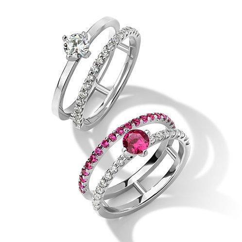 Кольца с бриллиантами и рубинами