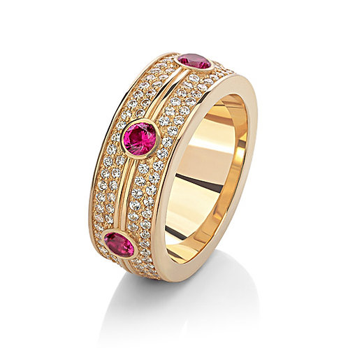 Кольцо с бриллиантами и рубинами WRC3