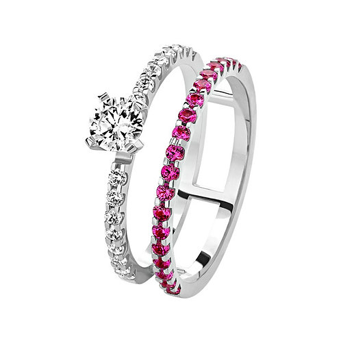 Кольцо с бриллиантами и рубинами. Модель AWS6