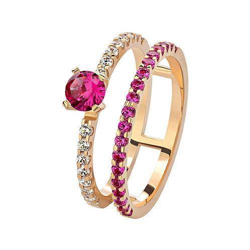 Кольцо с бриллиантами и рубином. Модель AWS8