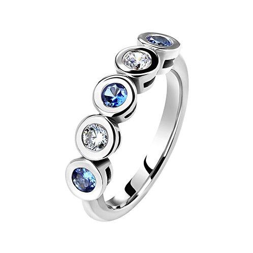 Кольцо с бриллиантами и сапфирами. Модель SDF55