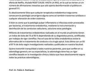 Información errónea publicada en netflix sobre tratamientos de conducto