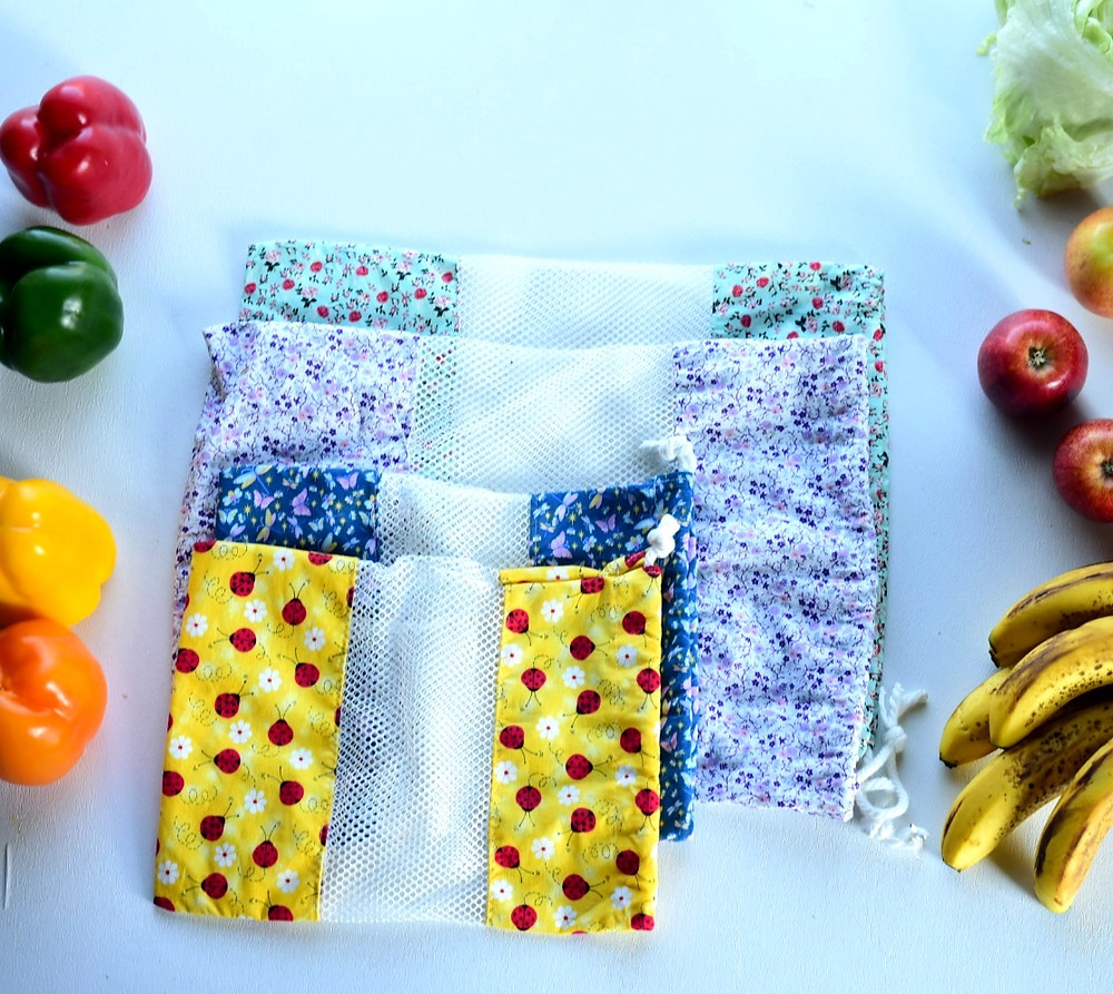 large and small reusable produce bags