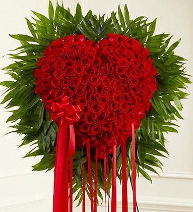 Sympathy Red Roses Bleeding Heart Standing Spray