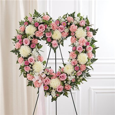 Sympathy Always Remember Pink Floral Heart Standing Spray