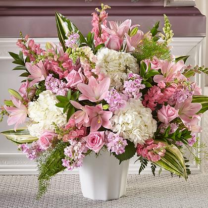 Sympathy Pink & White Floor Basket