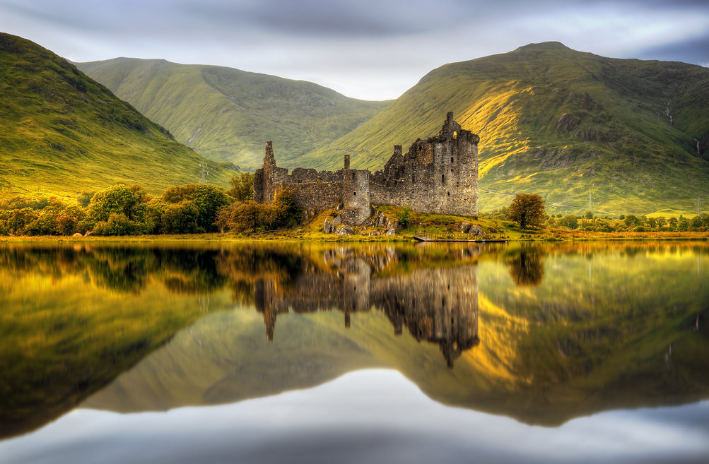 Kilchurn Castle reflections in Loch Awe