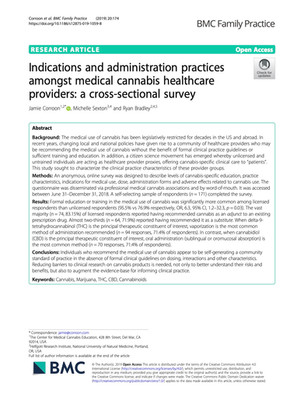 Indications and administration practices amongst medical cannabis healthcare providers: a cross-sectional survey